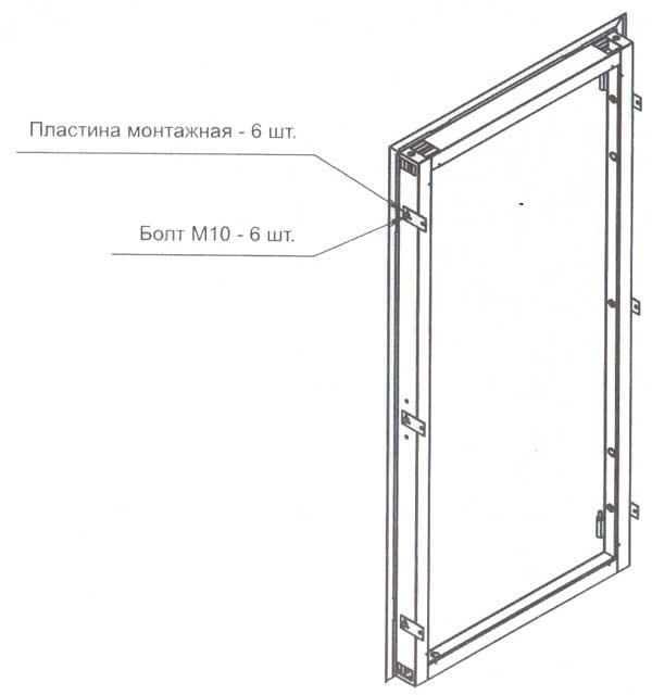 Дверная коробка с монтажными пластинами
