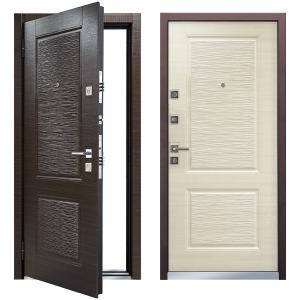 Cтальная дверь Мастино ЛАЙН 2 Темный венге / Светлый венге