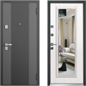 Входная дверь Бульдорс 44Т new Зеркало лиственница беж