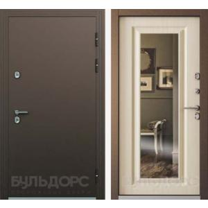 Входная дверь ТермоБУЛЬ -2 белый перламутр ЗЕРКАЛО