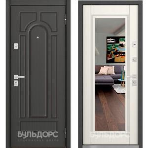 Входная дверь Бульдорс 45 new зеркало, Вуд дуб белый