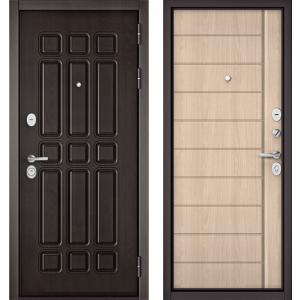 Стальная дверь Бульдорс STANDART 90 дуб шоколад / ясень ривьера