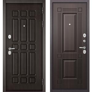 Стальная дверь Бульдорс STANDART 90 дуб шоколад / ларче тёмный 9