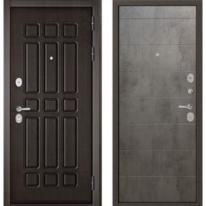 Стальная дверь Бульдорс STANDART 90 дуб шоколад / бетон серый 9S
