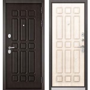 Стальная дверь Бульдорс STANDART 90 дуб шоколад / ларче бьянко 9