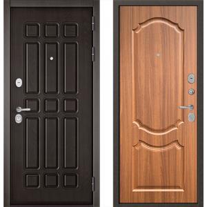 Стальная дверь Бульдорс STANDART 90 дуб шоколад/ орех лесной 9SD