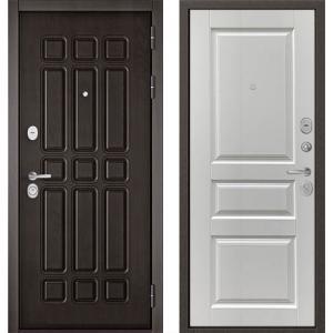 Стальная дверь Бульдорс STANDART 90 дуб шоколад/ларче белый 9SD