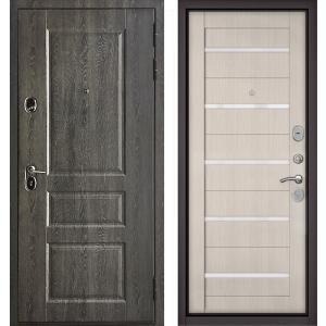 Стальная дверь Бульдорс STANDART 90 PP дуб графит / ларче бьянко
